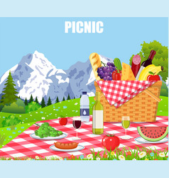 picnic in the mountains vector image vector image