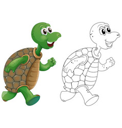 Animal outline for turtle running vector