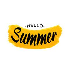 black lettering hello summer - yellow grunge shape vector image vector image