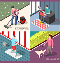 Daily routine 2x2 isometric design concept vector