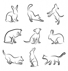 Dog cat rabbit animal drawin vector