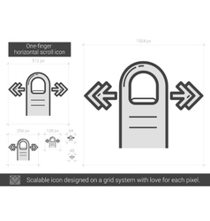 One-finger horizontal scroll line icon vector