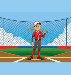 baseball player pose on the pitch vector image vector image