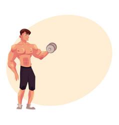 man bodybuilder weightlifter doing bicep workout vector image