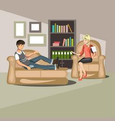 patient talking to psychologist vector image vector image