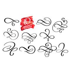 set of calligraphic design flourish vector image vector image