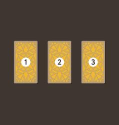 three tarot card spread reverse side vector image vector image