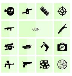 14 gun icons vector