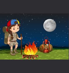 a girl camping at night vector image