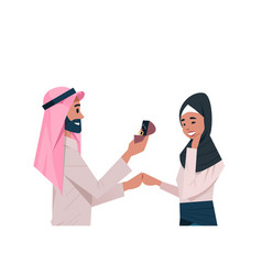 Arab man holding engagement ring proposing arabic vector