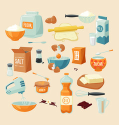baking ingredients set vector image