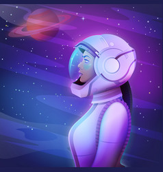beautiful young afro space girl astronaut in a vector image