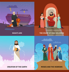 Bible story concept icons set vector