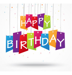 birthday celebration background on label vector image