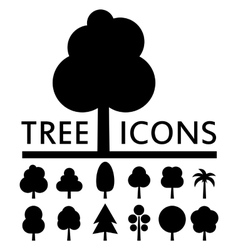black tree icons collection vector image
