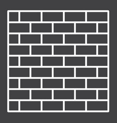 brick wall line icon security and build vector image