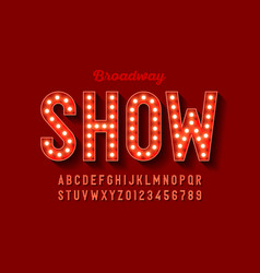 Broadway style retro light bulb font vintage vector