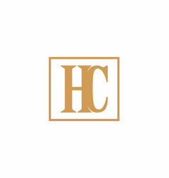 brown hc initial letter in square vector image