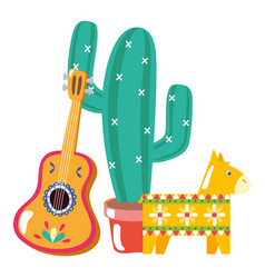 Cactus plant with guitar and pinata vector