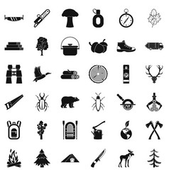 camping icons set simple style vector image