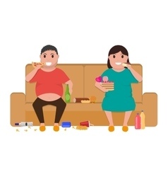 Cartoon fat man woman sitting on couch eat food vector