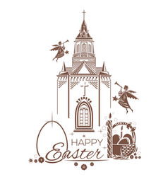 Catholic church burning candle basket of easter vector