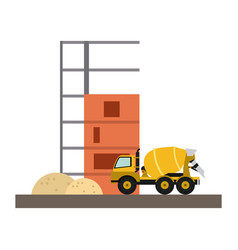 Cemet truck vehicle vector