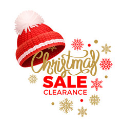 christmas sale clearance knitted red hat pom-pom vector image