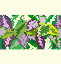 Colorful caricature plant leaves pattern seamless vector