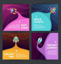 cool space banners set vector image