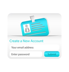 Create a new account form with light blue ID card vector image