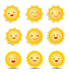 cute cartoon sun emoticons vector image