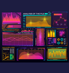 data visualization set hud color interface vector image