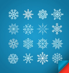 Different white snowflakes set on blue Design vector image