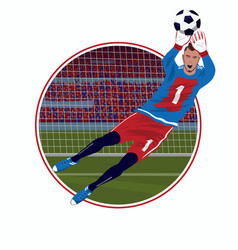Emblem with goalkeeper catching ball vector