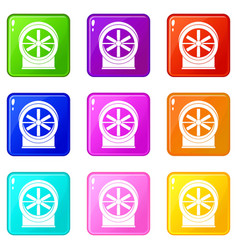 Fan icons 9 set vector