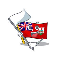 Flag bermuda cartoon bring flag on pole vector