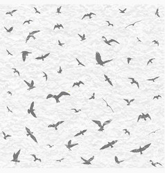 flying birds silhouettes on white grunge vector image