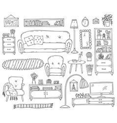 furniture - set design elements sketch living vector image