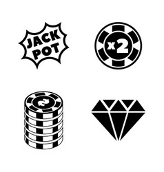 gambling casino simple related icons vector image