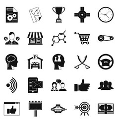General director icons set simple style vector