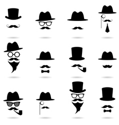 Gentleman portrait icon set vector image