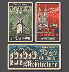 germany travel retro posters german landmarks vector image