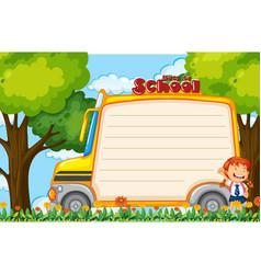 Girl on school bus note vector