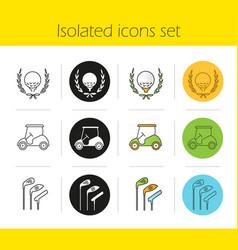 golf championship icons set vector image