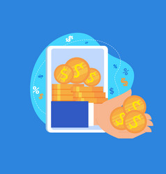Hand give money from tablet screen online income vector