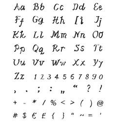 handwritten font for letter vector image