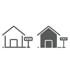 home for rent line and glyph icon real estate vector image