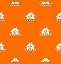 House sinking in a water pattern seamless vector