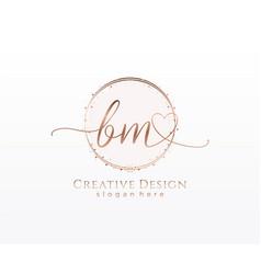 Initial bm handwriting logo with circle template vector